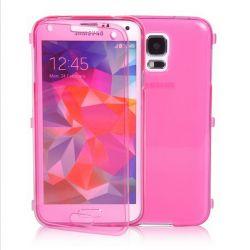 Funda con Tapa de TPU Transparente Clear Flip Samsung Galaxy S5 Rosa