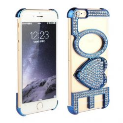 Carcasa Letras Love con Brillantes para Iphone 6 Azul