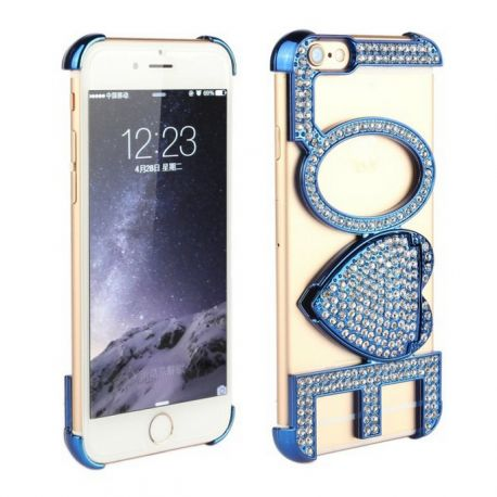 Carcasa Letras Love con Brillantes para Iphone 6 Azul