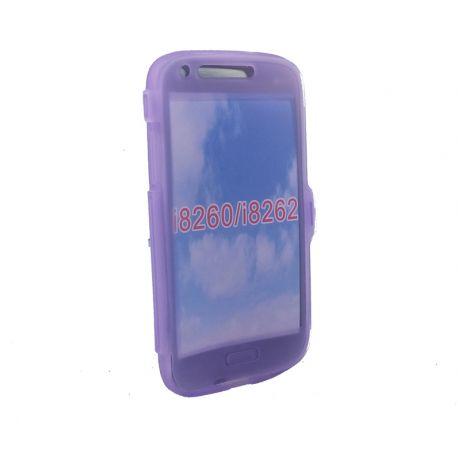 Funda con Tapa de TPU Clear Flip color Morado para Samsung Galaxy Core I8260