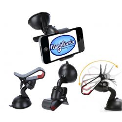 Soporte Universal para Coche tipo Pinza 360 Negro para Smartphone Multiusos
