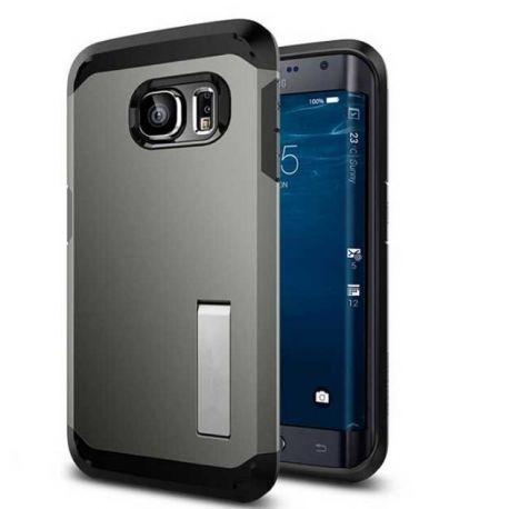 Funda tipo Tough Armor para Samsung Galaxy S6 Edge Gris Oscuro