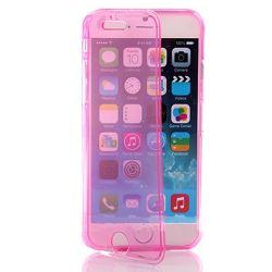Funda con Tapa de TPU Clear Flip para Iphone 6 Rosa