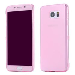 Funda con Tapa de TPU Clear Flip para Samsung Galaxy Note 5 Rosa