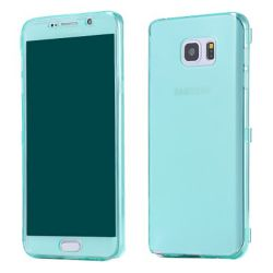 Funda con Tapa de TPU Clear Flip Samsung Galaxy Note 5 Verde Turquesa