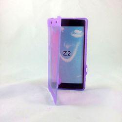 Funda Clear Flip con Tapa de TPU para Sony Xperia Z2 Morado