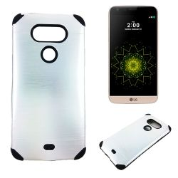 Funda trasera de Aluminio con interior Silicona para LG G5 Plata