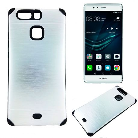Funda trasera de Aluminio con interior Silicona para Huawei P9 Plata
