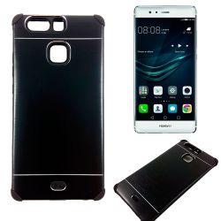 Funda trasera de Aluminio con interior Silicona para Huawei P9 Negro