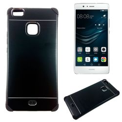 Funda trasera de Aluminio con interior Silicona Huawei P9 Lite Negro