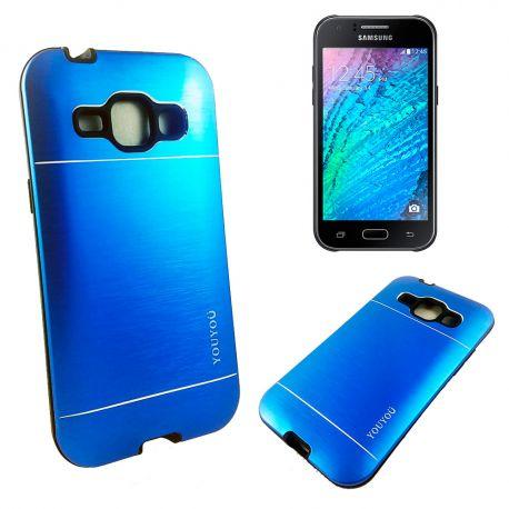 Funda trasera de Aluminio con interior Silicona Samsung Galaxy J1 Azul