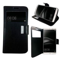 Funda libro Flip Cover con Tapa y Ventana para Huawei Mate 8 Negro