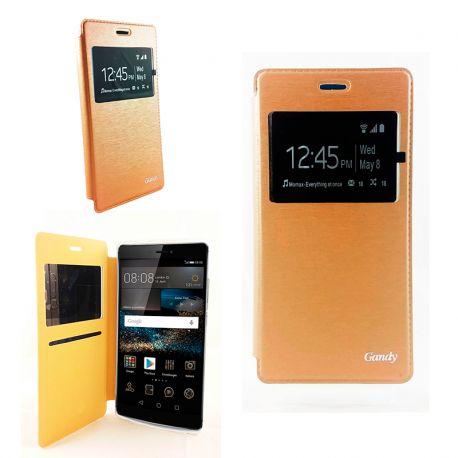 Funda Gandy con Tapa, Ventana y Soporte para Huawei P8 Oro