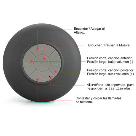 Altavoz Bluetooth con ventosa resistente al agua ideal Ducha Negro