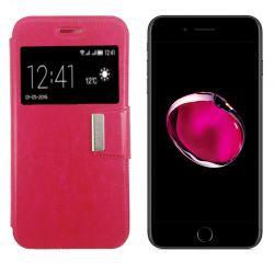 Funda Libro Flip Cover con Tapa, Ventana y Soporte iPhone 7 Plus Rosa