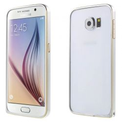 Bumper de metal Gris Plata y Dorado con cierre para Samsung Galaxy S6
