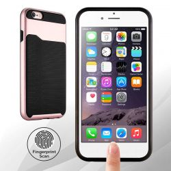 Funda de TPU + PC Hibrida con bumper iPhone 6 Plus y 6S Plus Oro Rosa