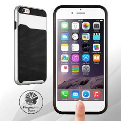 Funda de TPU + PC Hibrida con bumper para iPhone 6 Plus y 6S Plus Plata