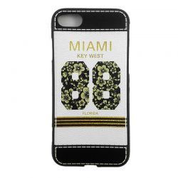 Funda TPU con relieve Miami Key West 88 Florida para iPhone 7 Blanco