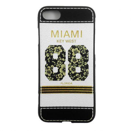 Funda TPU con relieve Miami Key West 88 Florida para iPhone 7 Blanco