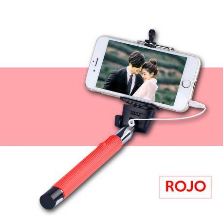 Palo Selfie Monopod extensible con cable y boton en mango color Rojo