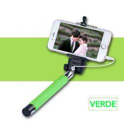 Palo Selfie Monopod extensible con cable y boton en mango color Verde