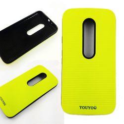 Funda TPU y Goma YouYou Motorola Moto G3 Amarillo Fluorescente a rayas