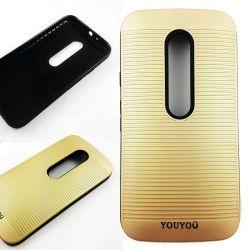 Funda TPU y Goma YouYou Motorola Moto G3 Dorado Metalizado a rayas