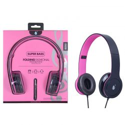 Auriculares Plegables y ajustables de Diadema EB202 Super Bass Rosa