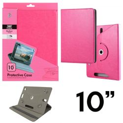 Funda Libro Universal Giratoria 360 y Soporte Tablets 10 pulgadas Rosa