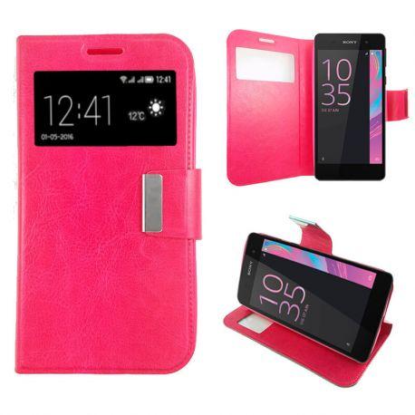 Funda libro Flip Cover Tapa, Ventana y Soporte Sony Xperia E5 Rosa