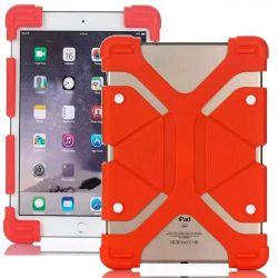 Funda Universal Silicona y Soporte para Tablet de 7 y 8 Pulgadas Rojo