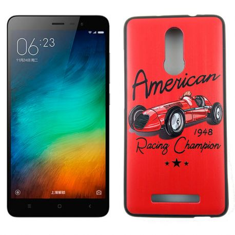 Funda TPU Relieve American Racing Champion Xiaomi Redmi Note 3 Rojo