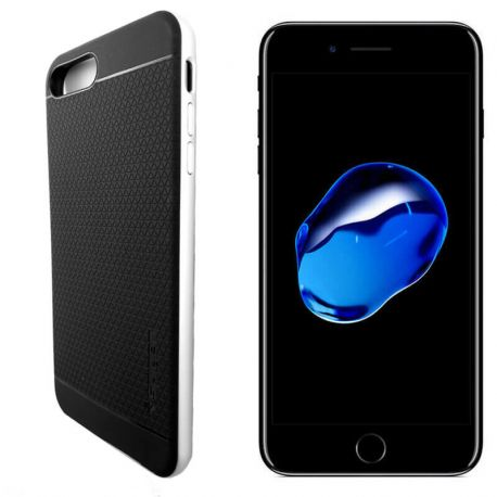 Funda Bumper PC + TPU tipo Neo Hybrid para iPhone 7 Plus Plata