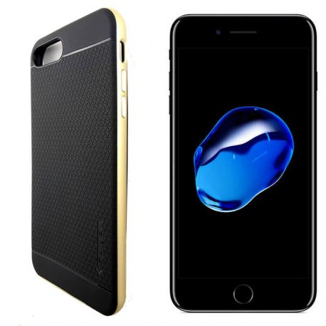 Funda Bumper PC + TPU tipo Neo Hybrid para iPhone 7 Plus Dorada