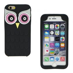 Funda 3D de Silicona Animal Buho Negro para Iphone 6 Plus / 6S Plus