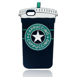 Funda 3D para Iphone 6 Plus y 6S Plus Vaso de Cafe Capuccino Negro