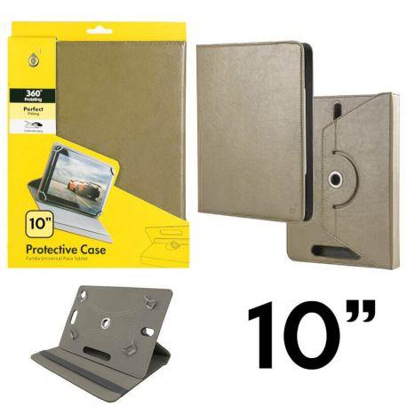 Funda Libro Universal Giratoria 360 Soporte Tablets 10 pulgadas Dorado