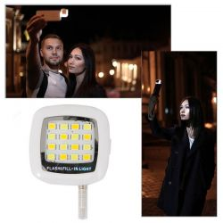 Mini Flash 16 Leds para Móviles iPhone y Android ideal Selfie Blanco