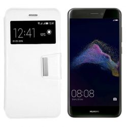 Funda Flip Cover con Tapa y Ventana para Huawei P8 Lite 2017 Blanco