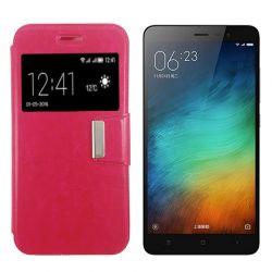 Funda libro Flip Cover con Tapa y Ventana Xiaomi Redmi Note 3 Rosa