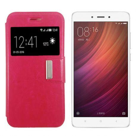 Funda libro Flip Cover con Tapa y Ventana Xiaomi Redmi Note 4 Rosa
