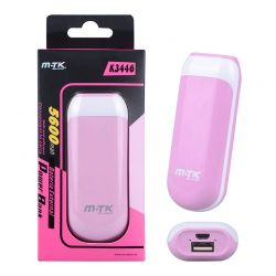 Bateria Externa Power Bank Cápsula K3446 Rosa 5600 mAh + Cable Usb