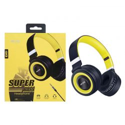 Auriculares de Diadema con Micrófono K3451 Super Bass Amarillo y Negro