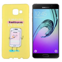 Funda de TPU Samsung Galaxy A5 2016 frase En Linea Silicona Amarillo