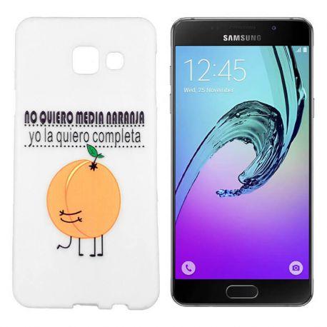 Funda de TPU para Samsung Galaxy A5 2016 Media Naranja Silicona Blanco