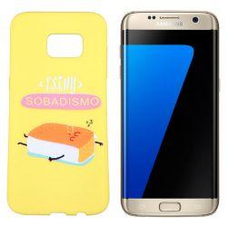 Funda TPU Samsung Galaxy S7 Edge frase Sobadisimo Silicona Amarillo