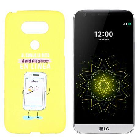 Funda de TPU para LG G5 frase y Dibujo En Linea Silicona Amarillo