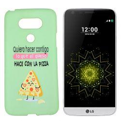 Funda de TPU para LG G5 frase y dibujo Pizza Silicona Verde