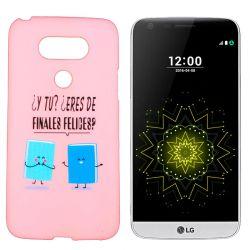 Funda de TPU para LG G5 frase y dibujo Finales felices Silicona Rosa